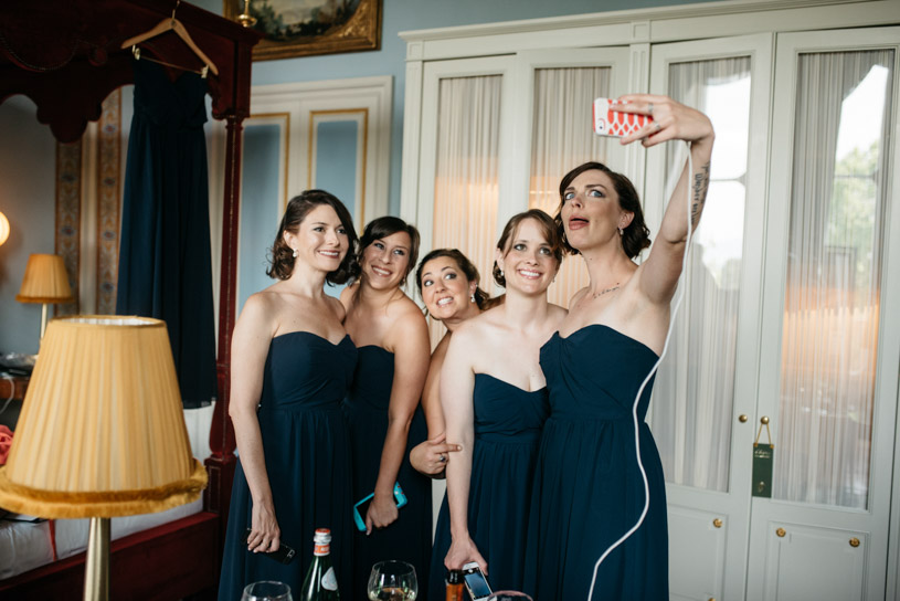 Bridesmaids dressed in nocturne Blue