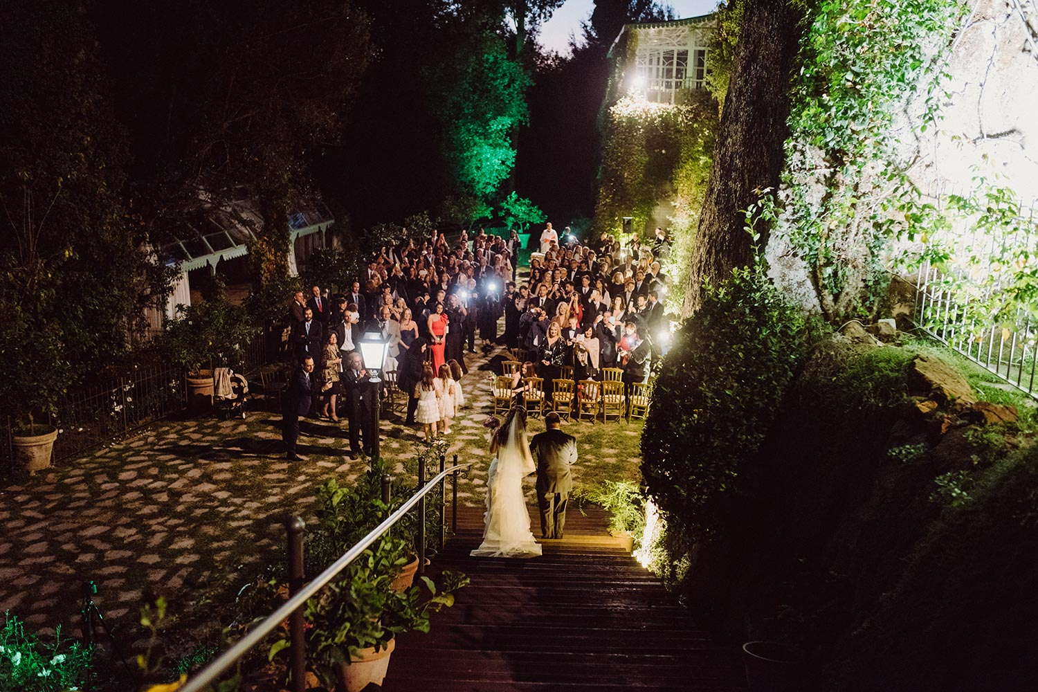NIght outdoor ceremony Tor Crescenza Castle