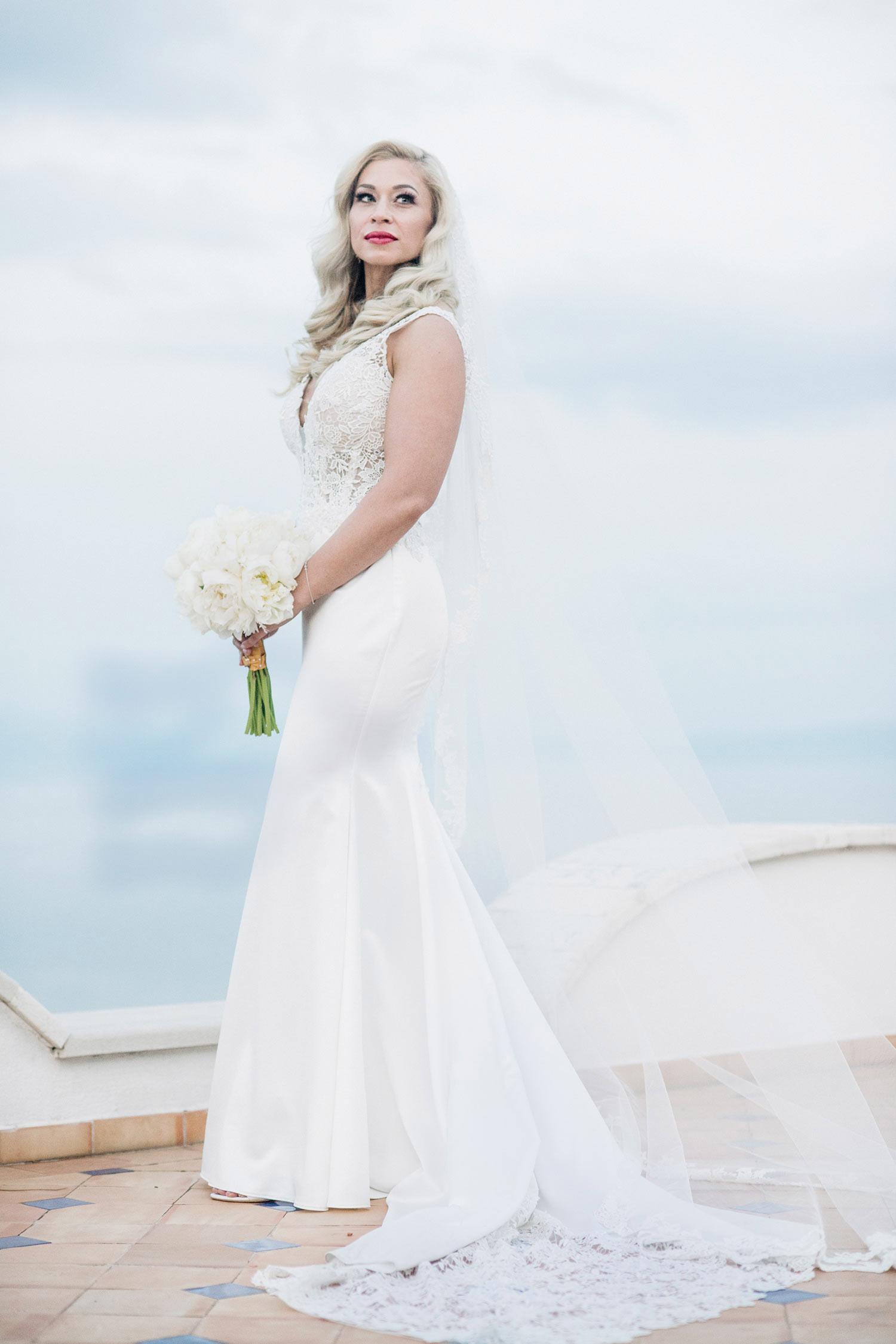 classy bride portrait amalfi coast