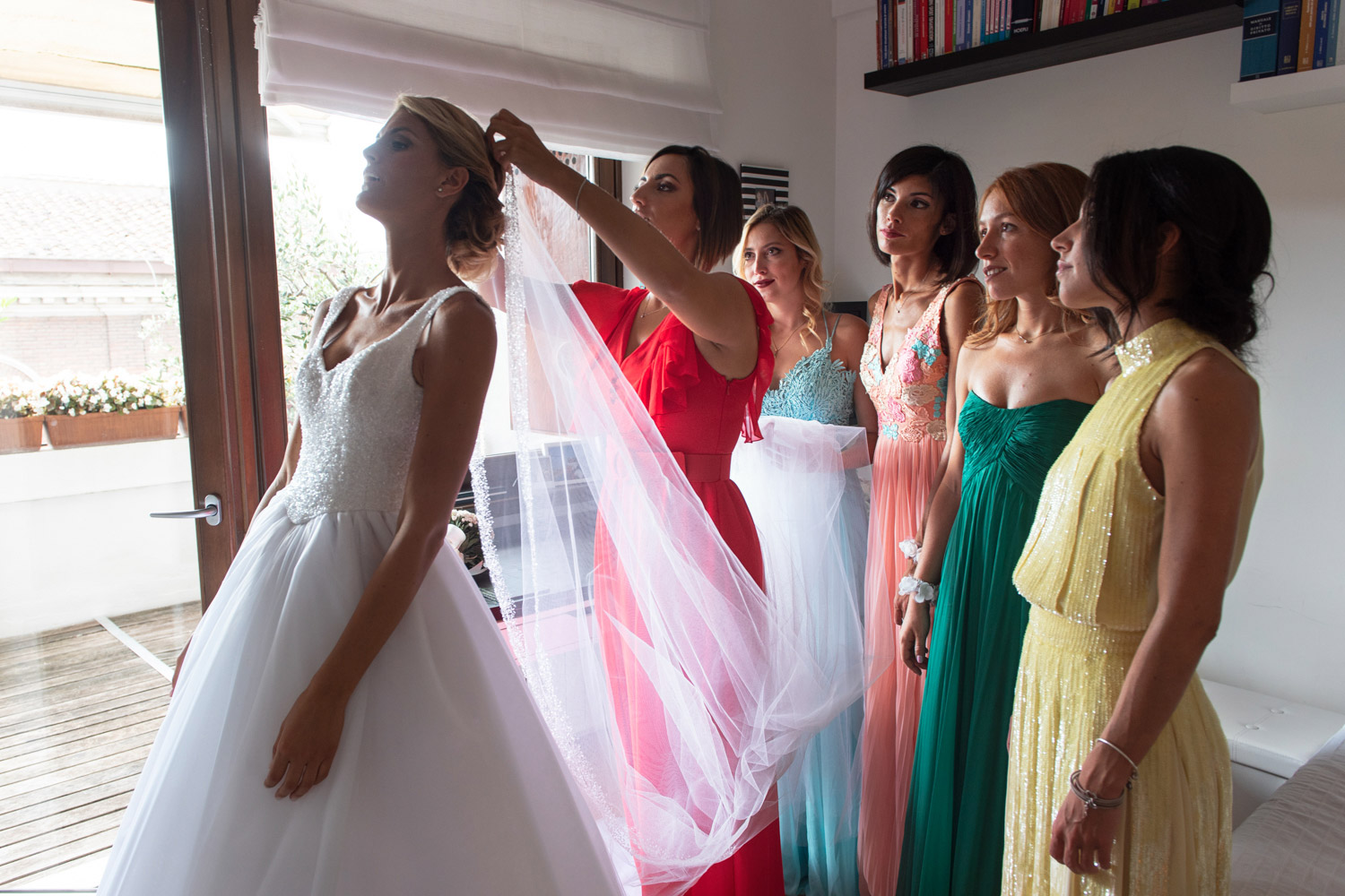 coloured bridesmaids dresses