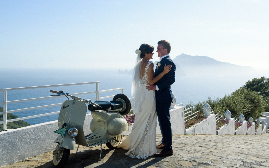 Capri backdrop Wedding at Relais Blu charming hotel by the sea